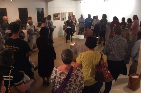 Philippa Jahn, DRS Indigenous Community Liaison and Project Coordinator addressing the crowd at the 2016 DRS Visual Arts Leadership Program inaugural exhibition opening in Kununurra. © AGWA