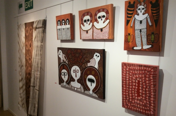 Install shot of canvas artworks by Mowanjum Art & Culture Centre artists Mildred Mungulu, Kirsty Burgu, Gordon Barunga, Donny Woolagoodja and Gabriella Barunga at the DRS 2016 Visual Arts Leadership Program exhibition in Kununurra. © AGWA
