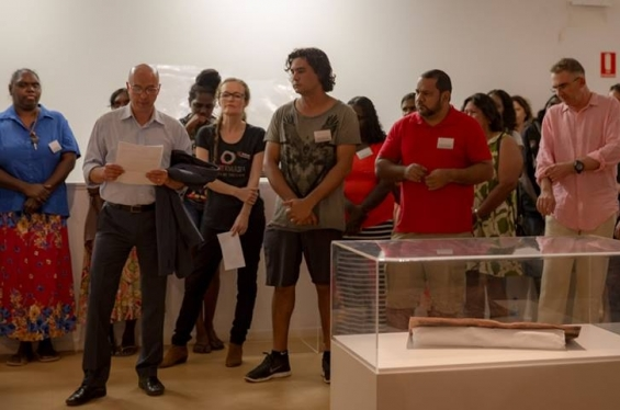 AGWA Director, Stefano Carboni addressing the crowd at the 2016 DRS Visual Arts Leadership Program inaugural exhibition opening in Kununurra. © Benjamin Broadwith