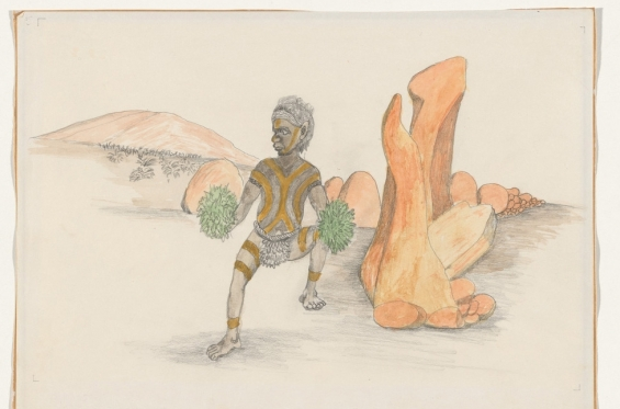 Butcher Joe Nangan. Tjitjingnatirr- the Ant Bed Spirits, c. 1979, black pencil and watercolour, National Gallery of Australia, Canberra
